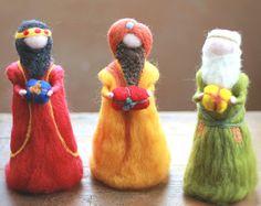 Los tres hombres sabios, reyes magos, la aguja de fieltro, Belén, Waldorf inspiró, Belén, los Reyes de Oriente, 3 reyes, Aguja de fieltro, Navidad, Decoración