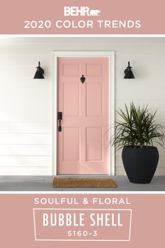 If you're looking for an easy way to change up the exterior design of your home, the BEHR® 2020 Color Trends Palette is the perfect place to find inspiration. A new coat of BEHR Paint in Bubble Shell brings a soulful, floral style to this painted front door. How will you incorporate this light pink hue into your home? Click below for full color details to learn more.