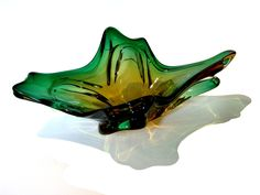 Vintage Italian Murano Glass Imported from Argentina (Green & Yellow)