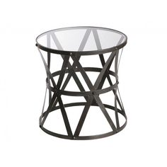 Glass And Rustic Black Round Table