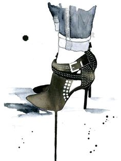 Studded Fashion Illustration Watercolor Painting by KelseyMDesigns