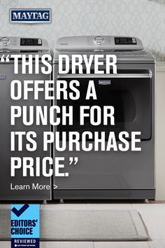 """Count on Maytag for dependable and affordable washers and dryers that will work in your laundry room. But don't just take our word for it, click here to see why reviewed.com said Maytag® dryer (model MED7230HW) """"offers a punch for its purchase price."""" Maytag Washer And Dryer, Laundry Appliances, Dryers, Washers, Laundry Room, Punch, Count, Model, Clothes Dryer"""