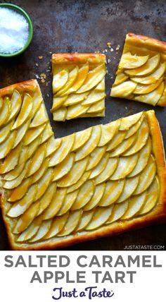 Up your holiday dessert game with this easy but impressive Salted Caramel Apple Tart recipe! This make-ahead dessert idea stars buttery puff pastry, tangy apples, sticky-sweet caramel and sea salt. justataste.com #recipes #applerecipes #saltedcaramel #caramelapples #thanksgivingdesserts #puffpastry #justatasterecipes Make Ahead Desserts, Homemade Desserts, Homemade Cakes, Sweet Desserts, Delicious Desserts, Tart Recipes, Fruit Recipes, Apple Recipes, Dessert Recipes
