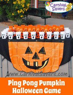 Ping Pong Pumpkin Halloween Game (Prizes could be the candy boogers)