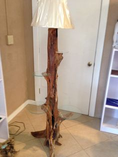 Cedar stump lamp with 4 glass shelves placed by PiddlesandDoodles, $299.99