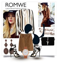 """""""Romwe Contest Skirt  Brown"""" by nedim-848 ❤ liked on Polyvore featuring Cesare Paciotti, Dorothy Perkins and Jimmy Choo"""