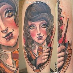 Dani Green made this adorable Hermione tattoo. HarryPotter Hermione fantattoo portrait neotraditional tibute DaniGreen