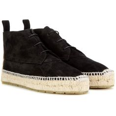 Balenciaga Espadrille Ankle Boots (1,065 SAR) ❤ liked on Polyvore featuring shoes, boots, ankle booties, black, espadrilles, suede ankle boots, black bootie boots, suede booties, short black boots and black suede booties