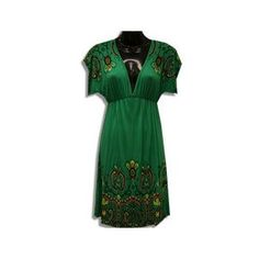 Womens Casual Dress Green V-Neck Boho Dress Size SMALL S Short Sleeve Dresses, Dresses With Sleeves, Boho Dress, Green Dress, Casual Dresses For Women, V Neck, Summer Dresses, Stuff To Buy, Collection