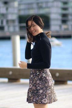 STYLE SMORGASBORD / Zimmermann Brocade Skirt, flirty, cute, fall, autumn, Forcast Heels, Forcast Turtleneck. Shot at Barangaroo