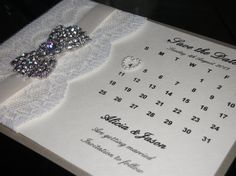 Luxury Hand Made Wedding Save the Dates by CrystalCoutureinvite
