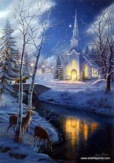 James Meger's print HOLY NIGHT is the second in a series based on the Christmas song Silent Night. Lights from the church cast a peaceful glow across the creek. Looks like a Christmas card. Vintage Christmas Cards, Christmas Pictures, Christmas Art, Christmas Wreaths, Winter Christmas Scenes, Christmas Scenery, Winter Scenery, Snow Scenes, Winter Pictures