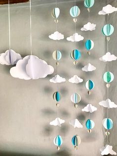 Nursery baby mobile x 4 / Hot Air Balloon Mobile / Nursery Decor / Baby Shower/ nursery art / kids room decor Ballon iDeen 🎈 Hanging Garland, Balloon Garland, Balloon Decorations, Baby Shower Decorations, Balloon Ideas, Hanging Paper Decorations, Homemade Party Decorations, Paper Wall Hanging, Room Decorations