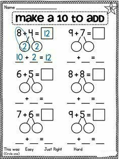 Make a 10 | Worksheet School Kindergarten Math Worksheets, Teaching Math, In Kindergarten, Multiplication Worksheets, Making Ten, Eureka Math, Singapore Math, Math Intervention, Second Grade Math