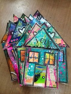 Chk out link for simple yet funky tutorial/ inspiration! Diane's Mixed Media Art: Happy House Tutorial
