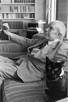 Jorge Luis Borges and black cat Crazy Cat Lady, Crazy Cats, I Love Cats, Cool Cats, Patricia Highsmith, Celebrities With Cats, Men With Cats, Gatos Cool, Dog Cat