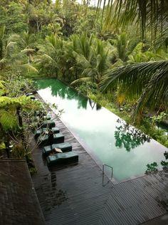 Amankila lap pool, Bali. On a plateau, on a mountainside.