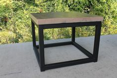 steel bases with oak top, driftwood finish