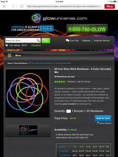 "20"" glow stick necklaces"