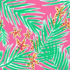 Lilly Pulitzer - Leied print with palm fronds and starfish, pink and green Lilly Pulitzer Patterns, Lilly Pulitzer Prints, Lily Pulitzer, Textile Patterns, Print Patterns, Painting Patterns, Textiles, Tropical Art, Painting Inspiration