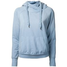 NSF drawstring hood sweatshirt ($176) ❤ liked on Polyvore featuring tops, hoodies, sweatshirts, jackets, outerwear, long sweatshirt, hoodie sweat shirt, blue hoodie, long hoodies and blue sweatshirt