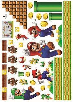 Amazon.com: Super Mario Bros Wall Decal Decor Peel Nursery playroom mural for Boys Kids Baby Bedroom Wallpaper Birthday gift: Baby