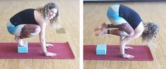 """Here's a few Yoga Poses made easier with Blocks - Crow Pose (my yoga instructor often says, """"using blocks is a sign of intelligence."""""""