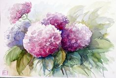 Abstract Flowers, Watercolor Flowers, Watercolour Painting, Painting & Drawing, Hortensia Hydrangea, Hydrangeas, Hydrangea Painting, Happy Art, Painting Lessons
