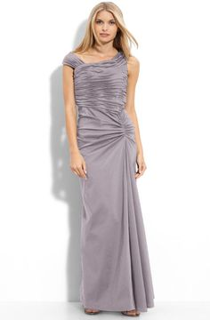 Adrianna Papell Dress Sleeveless Beaded Pleated Tiered Gown
