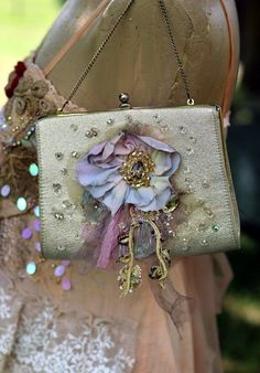 Victorian Print,Vintage Aqua Rhinestone Up-cyled,One of a kind,Victorian,Shabby Chic Boho Style Woman/'s Cross Body bag,Over the Shoulder