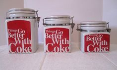 3 Coca Cola Gibson Canisters Red White Things Go Better With Coke Wire Bale Lid  #CocaCola