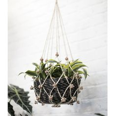 Get rustic decorations to display in your home like this charming natural jute macrame plant hanger. Place a potted plant inside the hanger and then hang from your ceiling. Perfect for air plants and