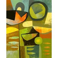 Cubist Garden 1 Canvas Art - Richard Faust (22 x 28)