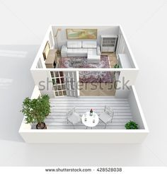 #Stock #photo: #3d #interior #rendering #oblique #view of #furnished #living #room and #balcony #shutterstock