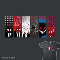 Reservoir Spiders | Shirtoid #comic #comics #dumbassman #film #marvelcomics #movies #reservoirdogs #spdr #spidergwen #spiderham #spiderman #spidermannoir #spidermanintothespiderverse