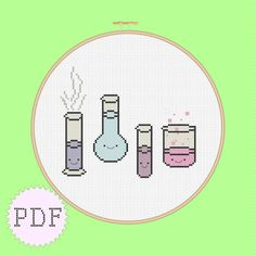 Kawaii Chemistry cross stitch pattern