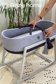Baby Bassinet, Wood Bassinet, Baby Moses, Baby Baskets, Moses Basket, Crochet Bebe, Mattress Covers, Thing 1, Handmade Home Decor