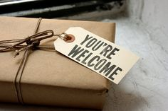 You're Welcome, Linoleum Block Gift Tags (10-pack)