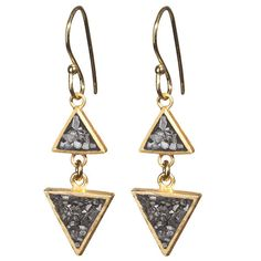 Black Rose Cut Diamond Double Triangle Earing