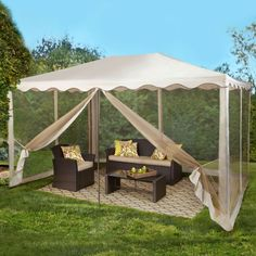 Canopy Gazebo Screened Oversize Outdoor Patio Party Shade Dining Living Space Up #Brylanehome