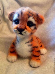 Купить Тигренок - рыжий, тигр, тигренок, войлочная игрушка, тигры, Кардочес, новозеландский кардочес