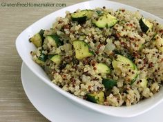 This quinoa pilaf uses zucchini, which is in season for most people, and would make a great side dish for a summer (Labor Day) cookout or picnic.