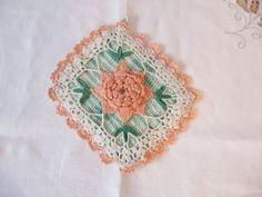 A Peach Rose Crochet Potholder