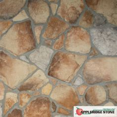 """Appleridge Stone - Stone Veneer: Fieldstone - Pattern has about 75% Flagstone, with the balance of stone being small Cobblestone, Riverstone and Ledgestone. Rectangular stones and large Flagstones with straight lines are laid horizontally. The """"Rustic"""" look. Largest stone 14"""" x 12"""" Smallest stone 2"""" x 4"""" (Shown in Appleblend color)"""