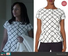 Olivia's white checked peplum top on Scandal.  Outfit Details: http://wornontv.net/40503/ #Scandal