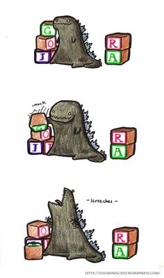 Baby Godzilla. This is cute