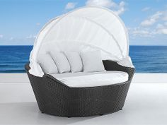 Outdoor Canopy Daybed by Beliani - Wicker Patio Furniture -PALERMO - 1499 CAD
