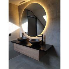 Adema Circle mirioir salle de bain rond diamètre avec éclairage LED indirect, chauffe miroir et interrupteur touch - - Magasinsalledebains. Bathroom Design Luxury, Bathroom Interior, Toilet Hotel, Bathroom Toilets, Mirror With Lights, Round Mirrors, Apartment Design, Bathroom Lighting, Mirror Bathroom