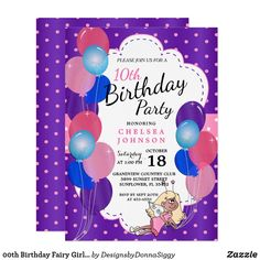 00th Birthday Fairy Girl in Purple and Pink Invitation
