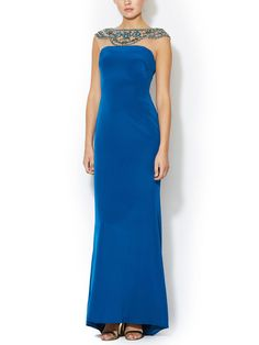 Silk Embellished Tulle Yoke Column Gown by Notte By Marchesa at Gilt